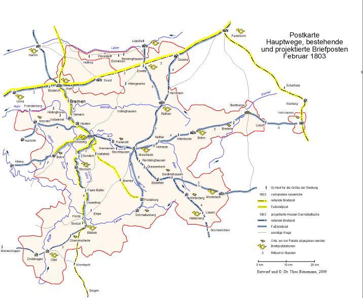 Karte Postwege 1803